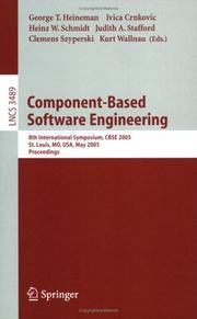 Cover of: Component-based software engineering | CBSE 2005 (2005 Saint Louis, Mo.)