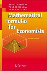 Cover of: Mathematical Formulas for Economists | Bernd Luderer