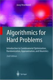 Cover of: Algorithmics for Hard Problems | Juraj Hromkovic