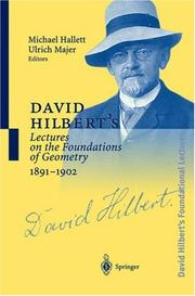 Cover of: David Hilbert's lectures on the foundations of mathematics and physics, 1891-1933