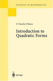 Cover of: Introduction to quadratic forms