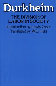 Cover of: The division of labor in society