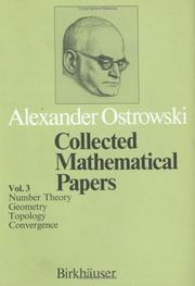 Cover of: Collected Mathematical Papers Vol. 3: VI. Number Theory. VII. Geometry. VIII. Topology. IX. Convergence