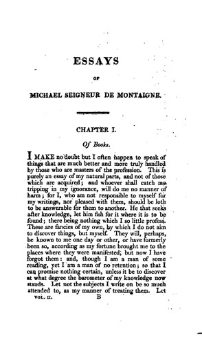 The essays of Michael de Montaigne by Michel de Montaigne