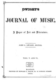 Cover of: Dwight's Journal of Music by John Sullivan Dwight