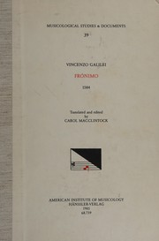 Cover of: Fronimo by Vincenzo Galilei