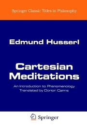 Cover of: Cartesianische Meditationen: an introduction to phenomenology