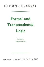 Cover of: Formal and transcendental logic: Translated by Dorion Cairns.