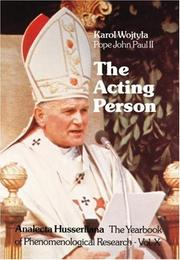 Cover of: The Acting Person: A Contribution to Phenomenological Anthropology (Analecta Husserliana)