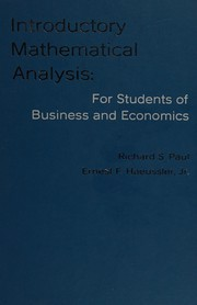 Introductory mathematical analysis: for students of business and economics