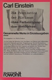 Cover of: Die Fabrikation der Fiktionen | Carl Einstein
