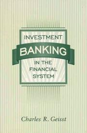 Cover of: Investment banking inthe financial system