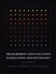 Cover of: Measurement and evaluation in education and psychology | William A. Mehrens