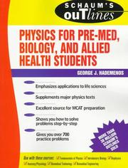 Cover of: Schaum's Outline of Physics for Biology and Pre-Med, Biology, and Allied Health Students
