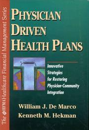 Cover of: Physician driven health plans