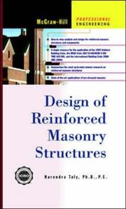 Cover of: Design of Reinforced Masonry Structures