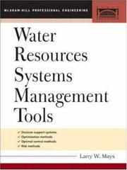 Cover of: Water Resource Systems Management Tools (McGraw-Hill Professional Engineering. Civil Engineering)