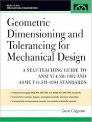 Cover of: Geometric Dimensioning and Tolerancing for Mechanical Design (McGraw-Hill Mechanical Engineering) | Gene Cogorno