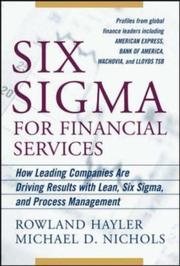 Cover of: Six Sigma for Financial Services | Rowland Hayler