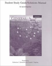 Cover of: General, Organic, and Biochemistry (Study Guide) | Katherine J. Denniston