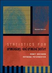 Cover of: Statistics for criminology and criminal justice