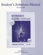 Cover of: SSM f/u w/ Bello, Intermediate Algebra | Ignacio Bello