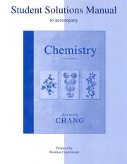 Cover of: Student Solutions Manual to accompany Chemistry | Raymond Chang