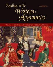 Cover of: Readings in the Western Humanities, Volume 1 | Roy Matthews