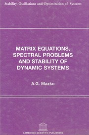Matrix equations, spectral problems and stability of dynamic systems