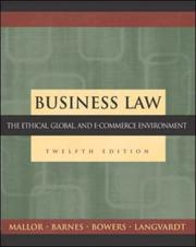 Cover of: Business Law | Jane P. Mallor, A. James Barnes, L. Thomas Bowers, Arlen W. Langvardt