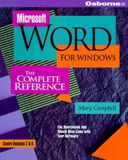 Cover of: Microsoft Word for Windows