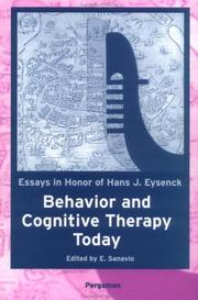 Cover of: Behavior and Cognitive Therapy Today | E. Sanavio