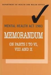 Cover of: Mental Health ACT 1983 |