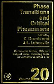 Cover of: Phase Transitions and Critical Phenomena, Volume 20