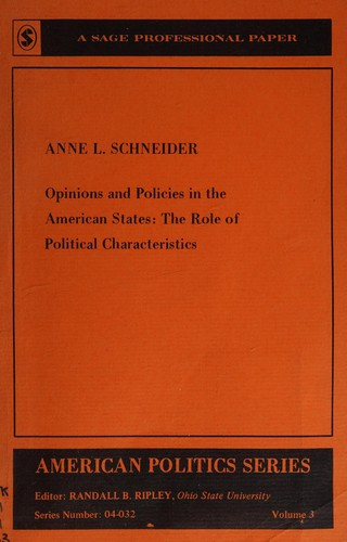 Opinions and policies in the American States by Anne L. Schneider