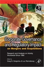 Cover of: Corporate Governance and Regulatory Impact on Mergers and Acquisitions | Greg N. Gregoriou