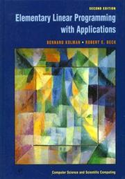 Cover of: Elementary linear programming with applications
