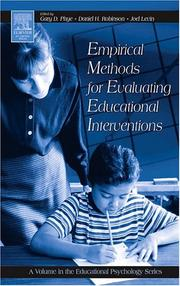Cover of: Empirical methods for evaluating educational interventions