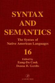 Cover of: The Syntax of native American languages
