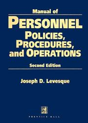 Cover of: Manual of personnel polices, procedures, and operations