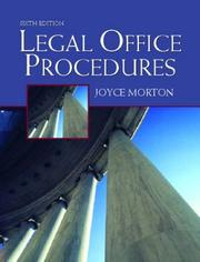 Cover of: Legal Office Procedures, Sixth Edition | Joyce Morton