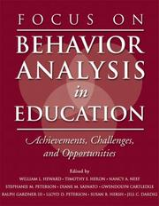 Cover of: Focus on behavior analysis in education