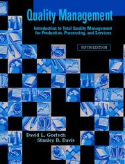 Cover of: Quality Management (5th Edition) | David L. Goetsch