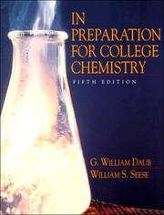 Cover of: In preparation for college chemistry