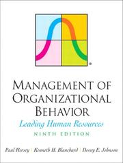 Cover of: Management of Organizational Behavior (9th Edition) | Paul H Hersey