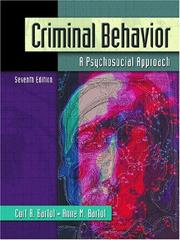 Cover of: Criminal Behavior | Curt R. Bartol