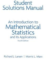Cover of: Student Solutions Manual: An Introduction to Mathematical Statistics | Richard J. Larsen