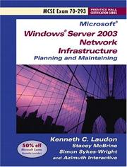 Cover of: Planning and maintaining a Microsoft Windows Server 2003 network infrastructure