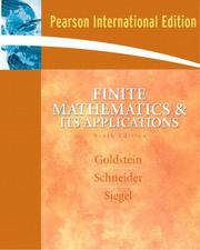 Cover of: Finite Mathematics and Its Applications | Larry Joel Goldstein