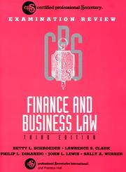 Cover of: CPS Examination Review Finance and Business Law | Betty L. Schroeder